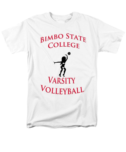 Men's T-Shirt  (Regular Fit) featuring the drawing Bimbo State College - Varsity Volleyball by Bill Cannon