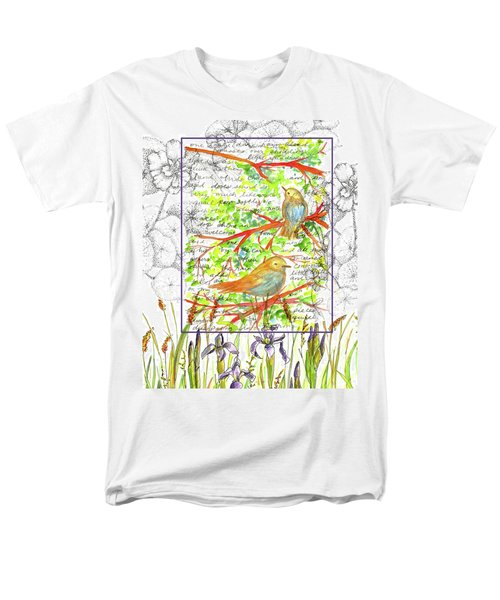 Men's T-Shirt  (Regular Fit) featuring the painting Bluebirds Nature Collage by Cathie Richardson