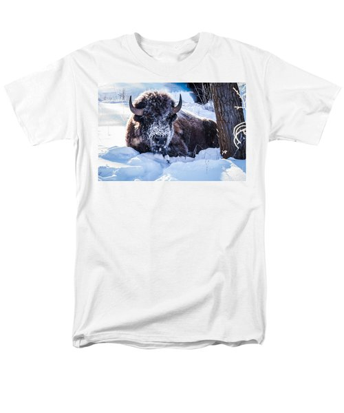 Men's T-Shirt  (Regular Fit) featuring the photograph Bison At Frozen Dawn by Yeates Photography