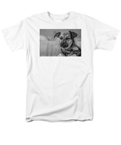 Black And White Dog Portrait Men's T-Shirt  (Regular Fit) by Daniel Precht