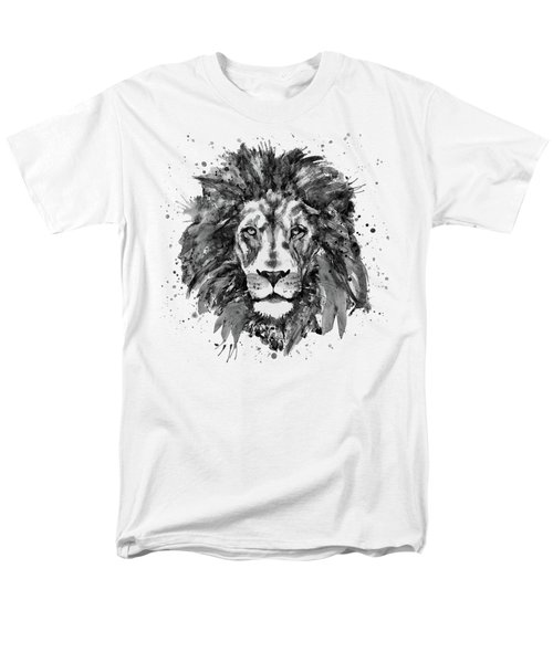 Black And White Lion Head  Men's T-Shirt  (Regular Fit) by Marian Voicu