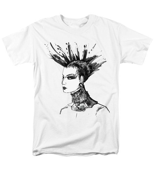 Black And White Punk Rock Girl Men's T-Shirt  (Regular Fit) by Marian Voicu