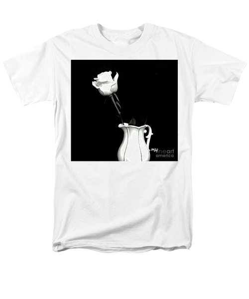 Men's T-Shirt  (Regular Fit) featuring the photograph Black And White Rose Three by Marsha Heiken