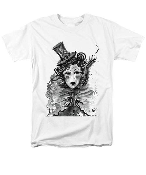 Men's T-Shirt  (Regular Fit) featuring the mixed media Black And White Watercolor Fashion Illustration by Marian Voicu