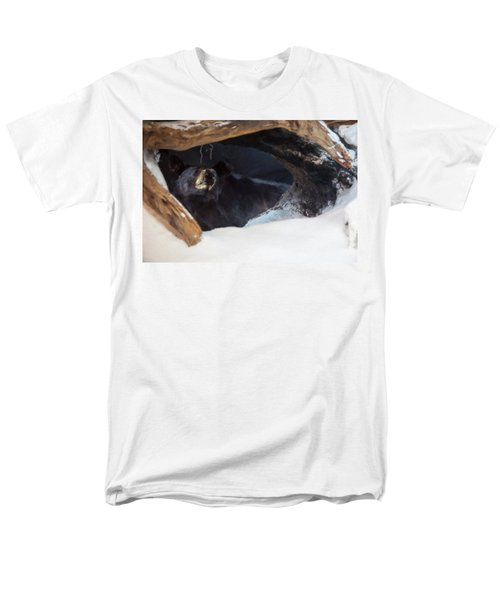 Men's T-Shirt  (Regular Fit) featuring the digital art Black Bear In Its Winter Den by Chris Flees