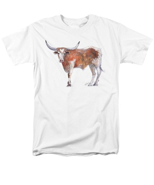 Bless Your Heart Of Texas Longhorn A Watercolor Longhorn Painting By Kathleen Mcelwaine Men's T-Shirt  (Regular Fit) by Kathleen McElwaine