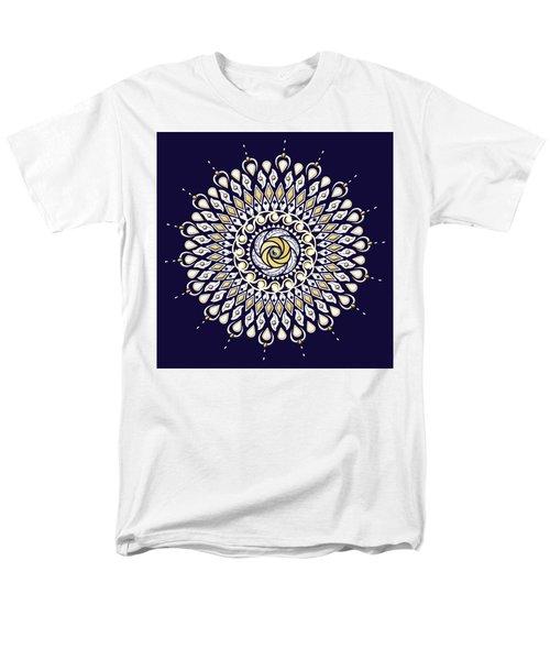 Blue And Gold Lens Mandala Men's T-Shirt  (Regular Fit) by Deborah Smith
