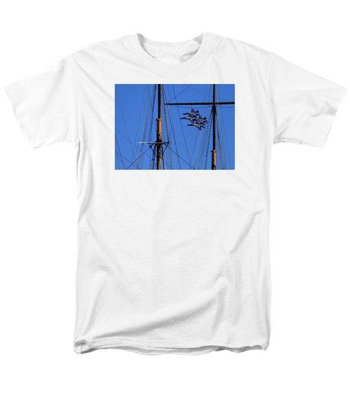 Blue Angels Pass Behind Masts Of The Balclutha At Hyde Street Pier Men's T-Shirt  (Regular Fit)