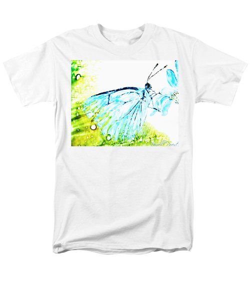 Blue Butterfly On Daisy Alcohol Inks Men's T-Shirt  (Regular Fit) by Danielle  Parent