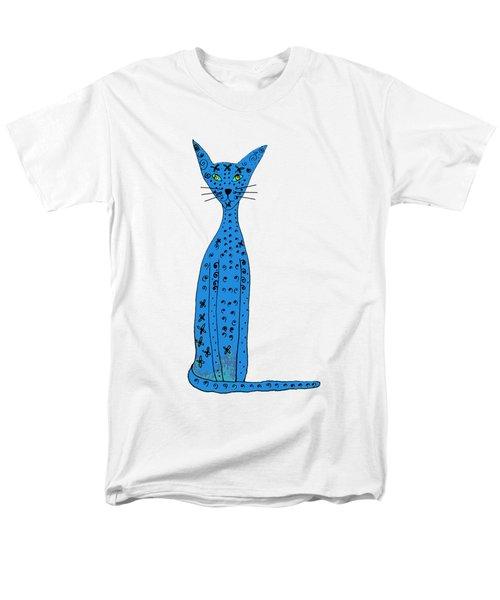 Blue Cat Men's T-Shirt  (Regular Fit) by Barbara Moignard