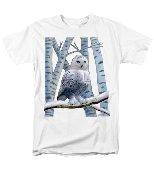 Blue-eyed Snow Owl Men's T-Shirt  (Regular Fit) by Glenn Holbrook