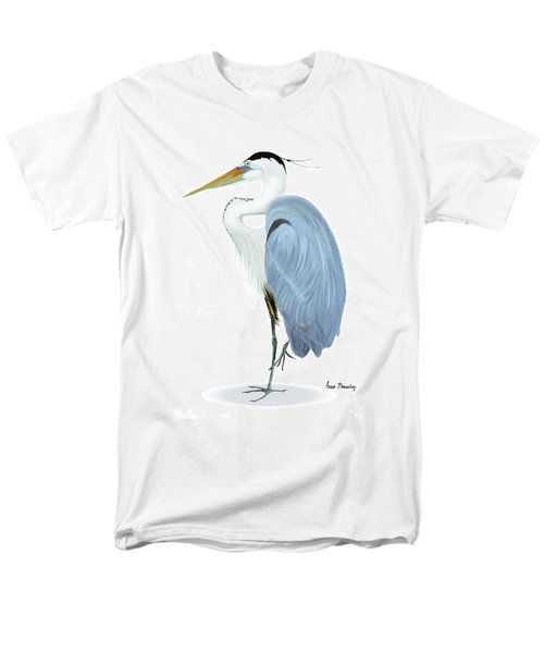Blue Heron With No Background Men's T-Shirt  (Regular Fit) by Anne Beverley-Stamps