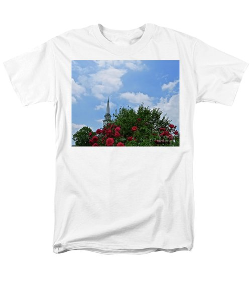 Men's T-Shirt  (Regular Fit) featuring the photograph Blue Sky And Roses by Nancy Patterson