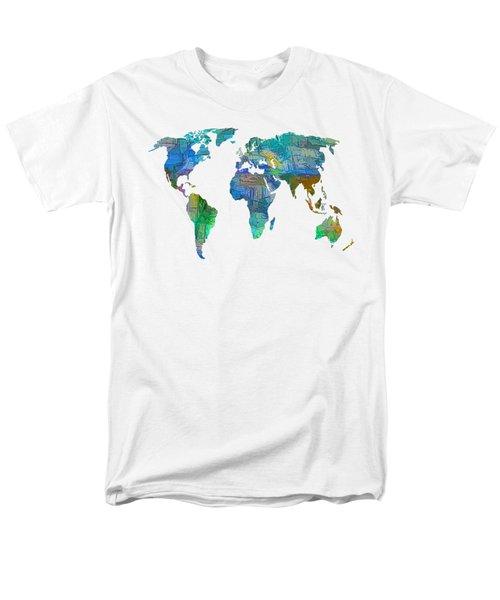 Blue World Transparent Map Men's T-Shirt  (Regular Fit)