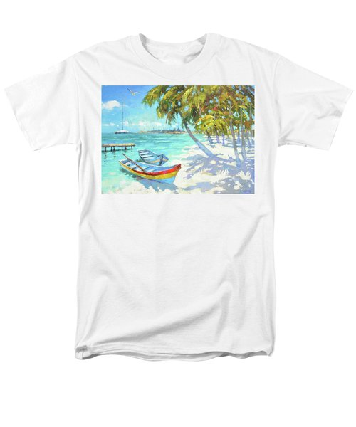 Men's T-Shirt  (Regular Fit) featuring the painting Boats  by Dmitry Spiros