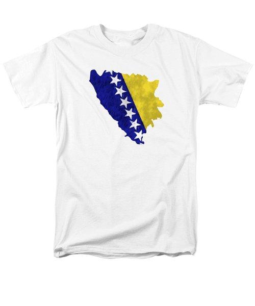 Bosnia And Herzegovina Map Art With Flag Design Men's T-Shirt  (Regular Fit) by World Art Prints And Designs