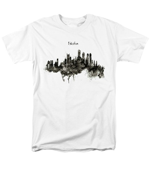 Boston Skyline Black And White Men's T-Shirt  (Regular Fit) by Marian Voicu