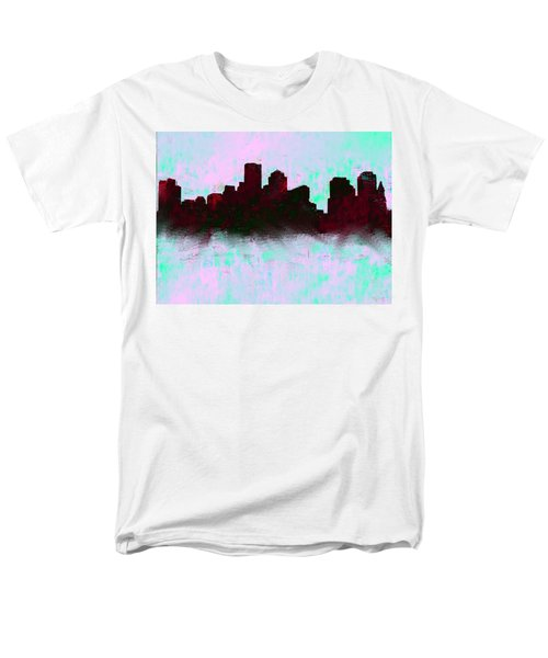 Boston Skyline Sky Blue  Men's T-Shirt  (Regular Fit) by Enki Art