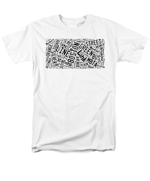 Boston Subway Or T Stops Word Cloud Men's T-Shirt  (Regular Fit) by Edward Fielding
