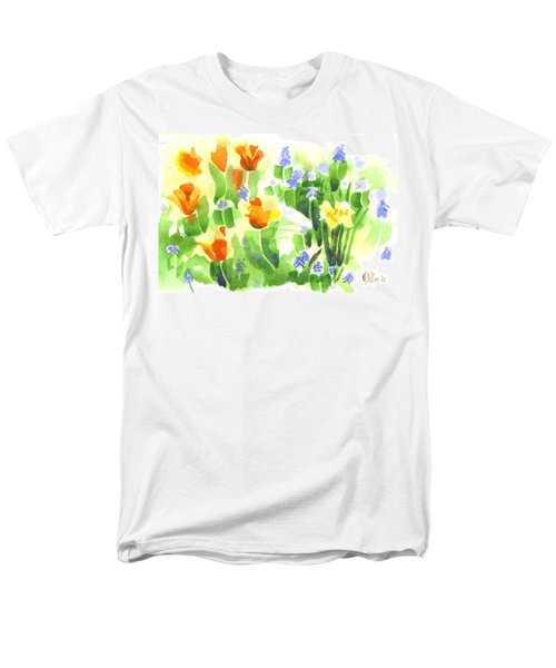 Brightly April Flowers Men's T-Shirt  (Regular Fit) by Kip DeVore