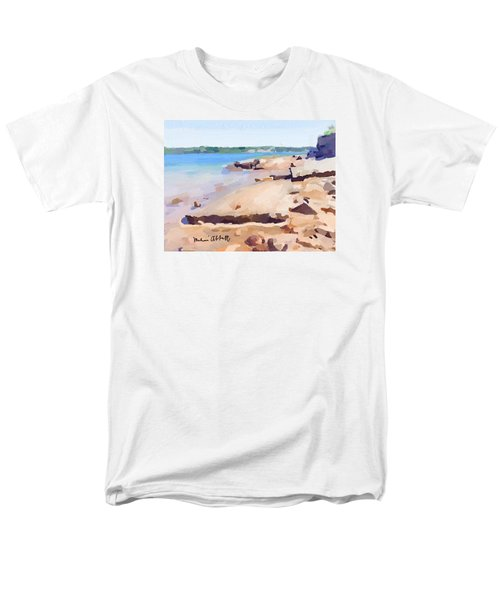 Broken Walkway Rock At Ten Pound Island Beach Men's T-Shirt  (Regular Fit) by Melissa Abbott