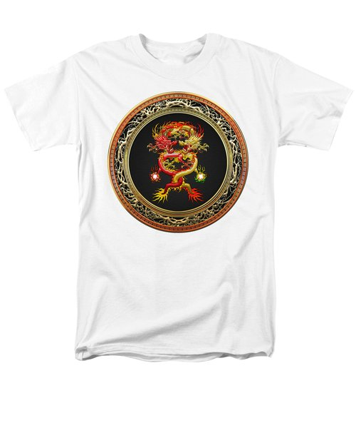 Brotherhood Of The Snake - The Red And The Yellow Dragons On White Leather Men's T-Shirt  (Regular Fit) by Serge Averbukh