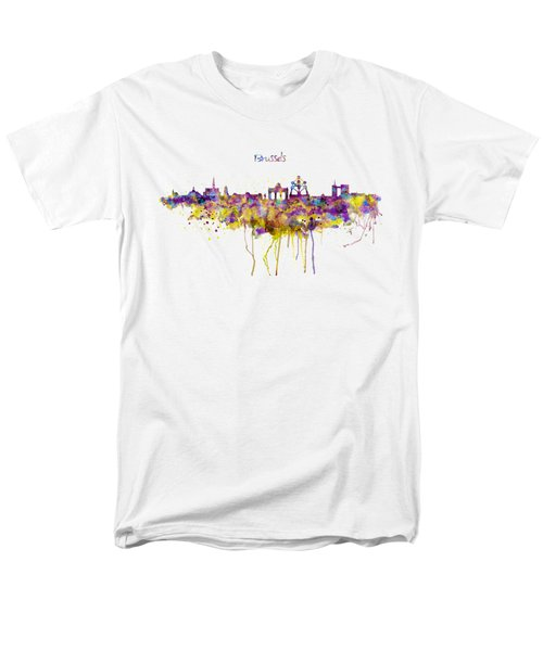 Brussels Skyline Silhouette Men's T-Shirt  (Regular Fit) by Marian Voicu