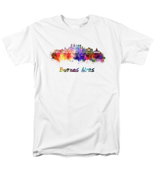Buenos Aires V2 Skyline In Watercolor Men's T-Shirt  (Regular Fit) by Pablo Romero