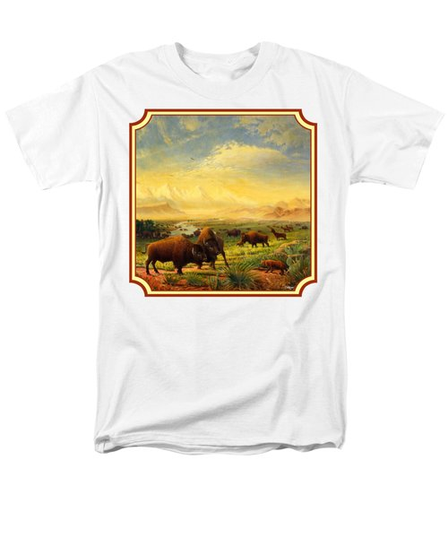Buffalo Fox Great Plains Western Landscape Oil Painting - Bison - Americana - Square Format Men's T-Shirt  (Regular Fit) by Walt Curlee
