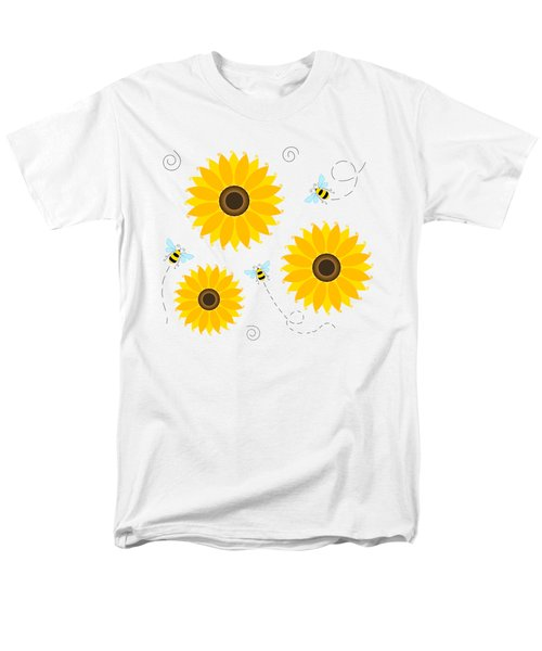 Busy Bees And Sunflowers - Large Men's T-Shirt  (Regular Fit) by SharaLee Art