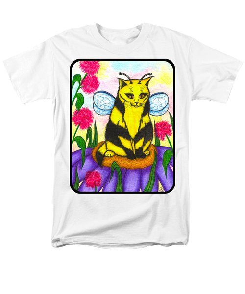 Men's T-Shirt  (Regular Fit) featuring the painting Buzz Bumble Bee Fairy Cat by Carrie Hawks
