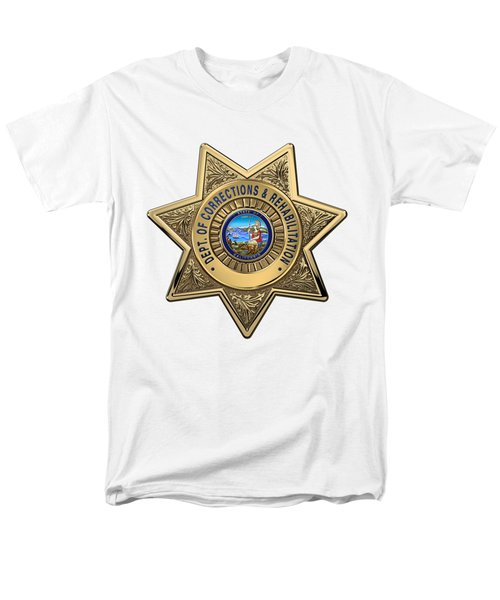 Men's T-Shirt  (Regular Fit) featuring the digital art California Department Of Corrections And Rehabilitation - C D C R  Officer Badge Over White Leather by Serge Averbukh