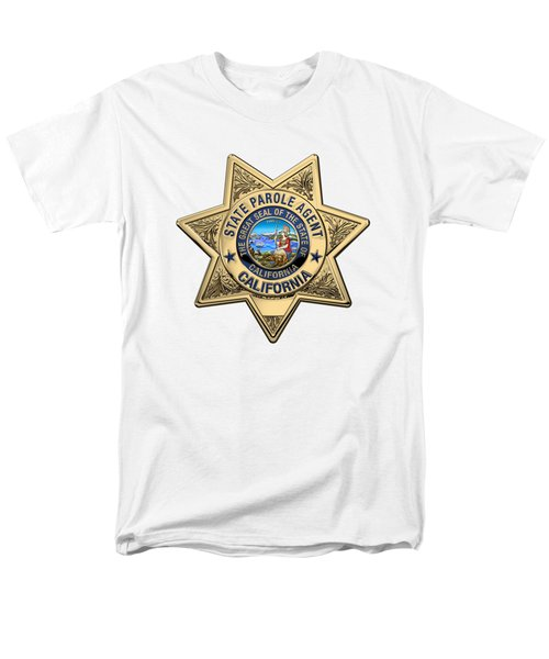 California State Parole Agent Badge Over White Leather Men's T-Shirt  (Regular Fit) by Serge Averbukh