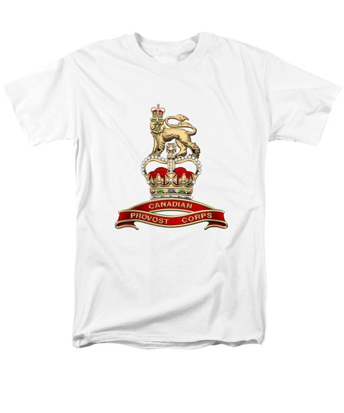 Canadian Provost Corps - C Pro C Badge Over White Leather Men's T-Shirt  (Regular Fit) by Serge Averbukh
