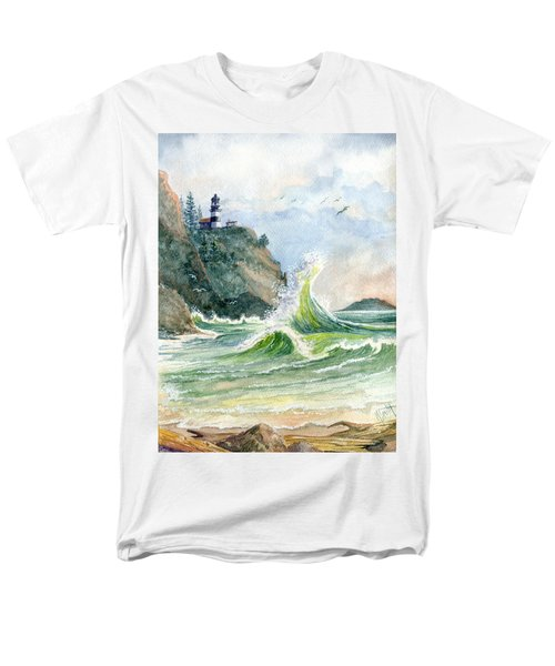 Men's T-Shirt  (Regular Fit) featuring the painting Cape Disappointment Lighthouse by Marilyn Smith