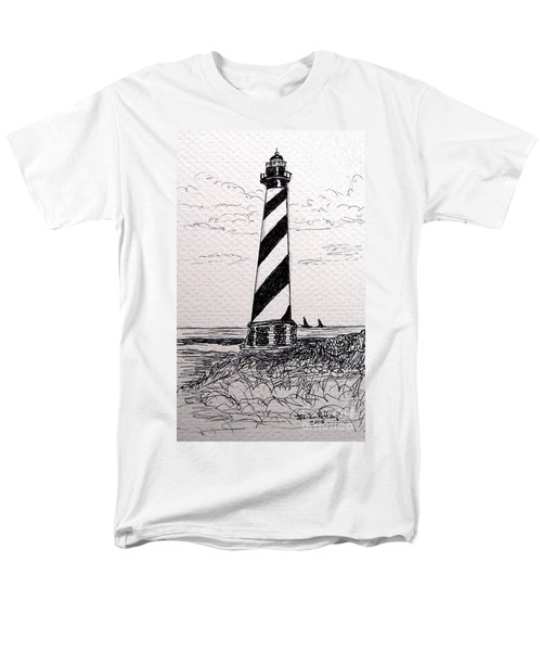 Men's T-Shirt  (Regular Fit) featuring the drawing Cape Hatteras Lighthouse Nc by Julie Brugh Riffey