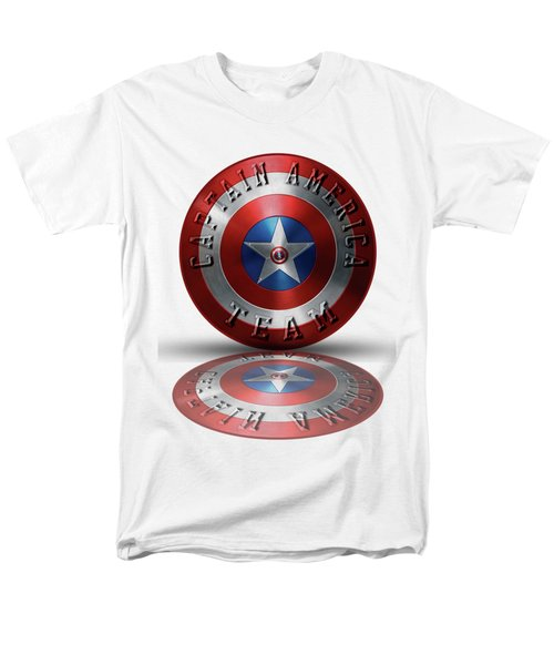 Captain America Team Typography On Captain America Shield  Men's T-Shirt  (Regular Fit) by Georgeta Blanaru