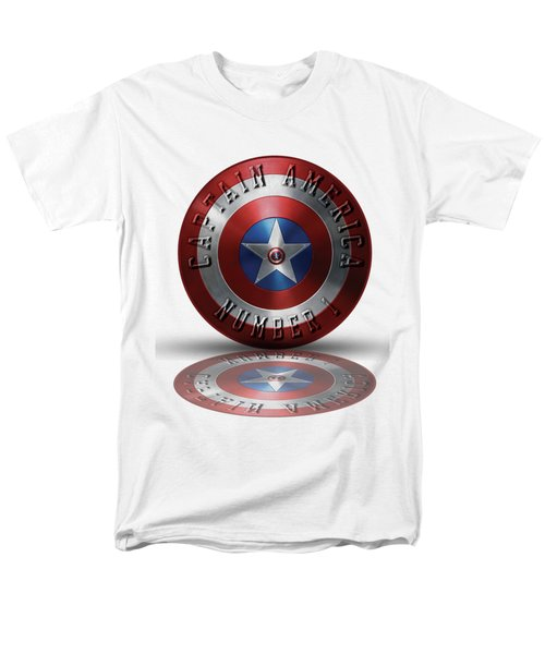 Men's T-Shirt  (Regular Fit) featuring the painting Captain America Typography On Captain America Shield  by Georgeta Blanaru