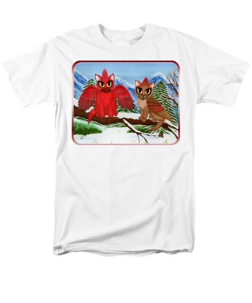 Men's T-Shirt  (Regular Fit) featuring the painting Cardinal Cats by Carrie Hawks