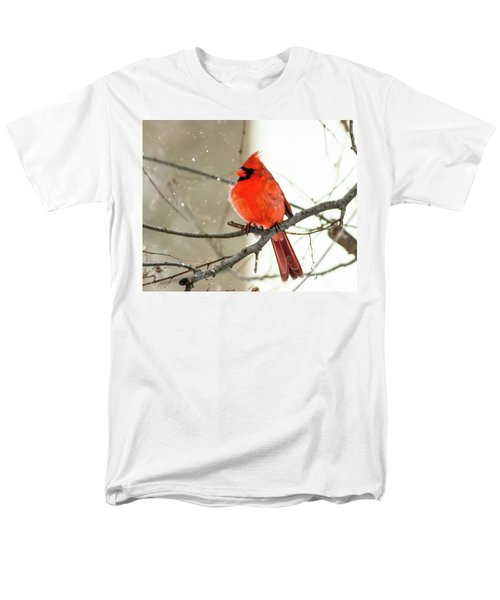 Cardinal In The Snow Men's T-Shirt  (Regular Fit) by Ursula Lawrence