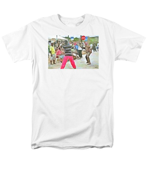 Men's T-Shirt  (Regular Fit) featuring the painting Caribbean Scenes - De Stick Fight by Wayne Pascall