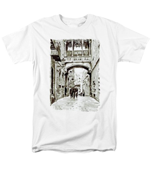 Carrer Del Bisbe - Barcelona Black And White Men's T-Shirt  (Regular Fit) by Marian Voicu