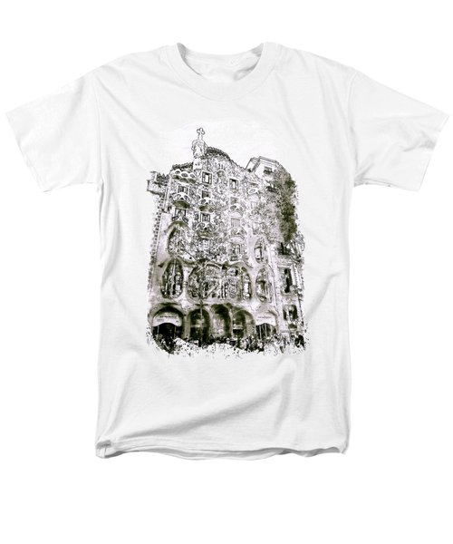 Casa Batllo Barcelona Black And White Men's T-Shirt  (Regular Fit) by Marian Voicu