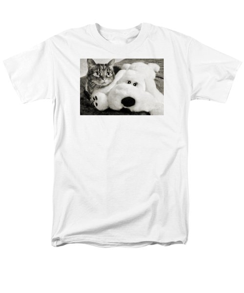 Cat And Dog In B W Men's T-Shirt  (Regular Fit) by Andee Design