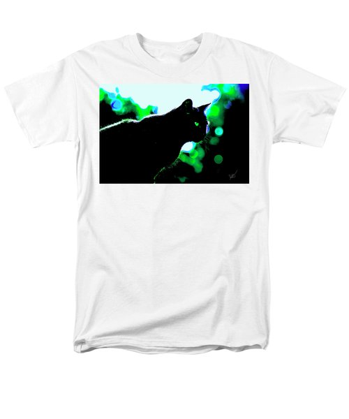 Cat Bathed In Green Light Men's T-Shirt  (Regular Fit) by Gina O'Brien