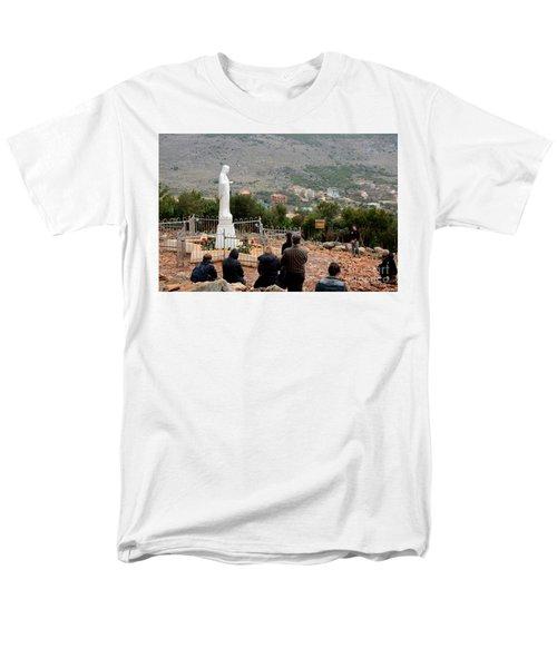 Catholic Pilgrim Worshipers Pray To Virgin Mary Medjugorje Bosnia Herzegovina Men's T-Shirt  (Regular Fit) by Imran Ahmed