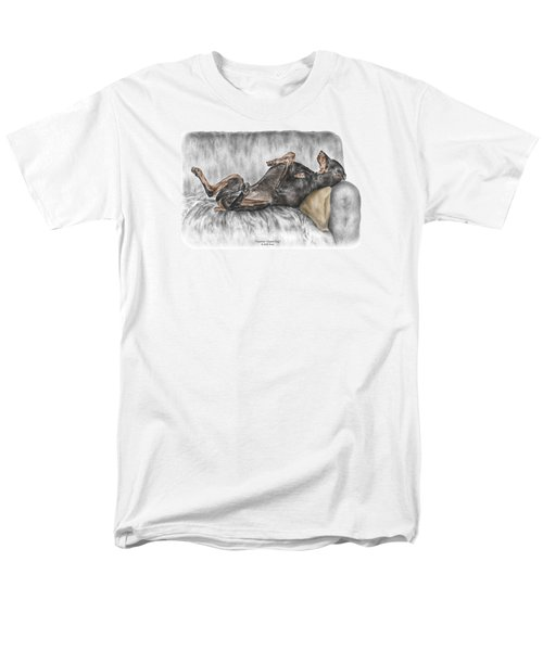 Caution Guard Dog - Doberman Pinscher Print Color Tinted Men's T-Shirt  (Regular Fit) by Kelli Swan