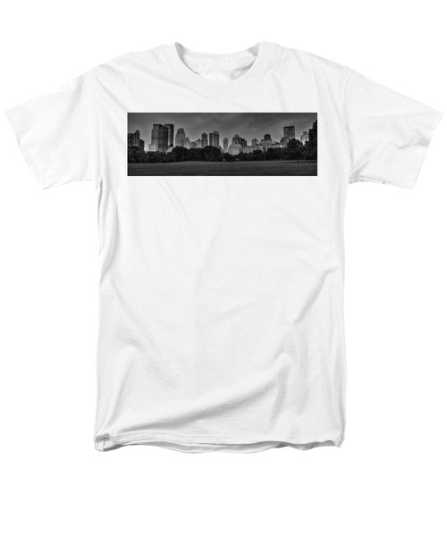 Men's T-Shirt  (Regular Fit) featuring the photograph Central Park Skyline Pano 001 Bw by Lance Vaughn