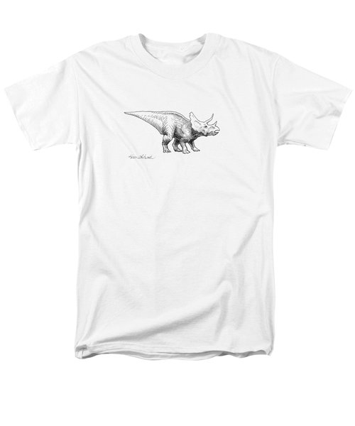Men's T-Shirt  (Regular Fit) featuring the drawing Cera The Triceratops - Dinosaur Ink Drawing by Karen Whitworth