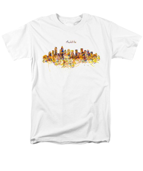 Charlotte Watercolor Skyline Men's T-Shirt  (Regular Fit) by Marian Voicu